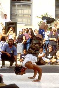 A break dancer performs at last year's Philadelphia Live Arts Festival & Philly Fringe. Photo by R. Kennedy.