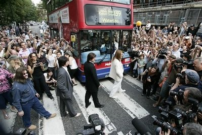 Abbey Road early this morning. Photo from AP.