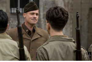 Brad Pitt addresses his troops in Inglourious Basterds. Photo from sanfranciscosentinel.com.