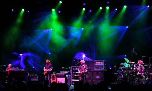Phish performing at Saratoga Springs, NY. Photo by Dave Vann.