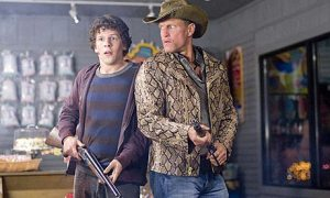 Woody and Jesse ward off zombies in Zombieland. Photo from guardian.co.uk.